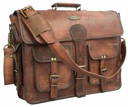 Handmade Men's Genuine Leather Vintage Laptop Messenger Brie