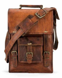 Men'S Genuine Handmade Leather Vintage Laptop Messenger Shou