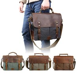 "Men's Leather Canvas Messenger Shoulder Bag Satchel 14"" Lapt"