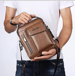 Men's Leather Casual Messenger Bag Cross-body Tote Handbag S
