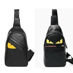 Men's Leather Chest Sling Bags Shoulder Bag Sport Travel Bac