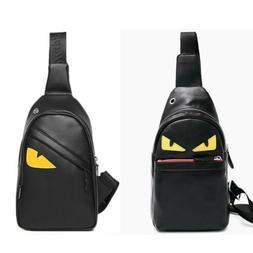 Men's Leather Chest Sling Day Pack Shoulder Bag Sport Travel