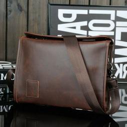 Men's Leather Messenger Bag Shoulder Cross Body Pack Casual