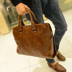 Men's Leather Shoulder Messenger Crossbody Bags Laptop Handb