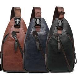 men s leather sling pack chest shoulder