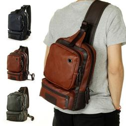 Men's Leather Travel Sports Sling Bag Backpack CrossBody Sho