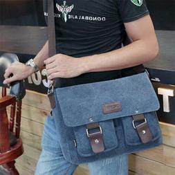 "Men's Messenger Bag Canvas Satchel Cross Body 14"" Laptop Vin"
