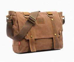 "Men's Messenger Bag Vintage Genuine Leather Canvas 14"" Lapto"