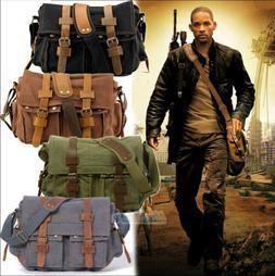 """Men's Military Canvas Leather Satchel School 11"""" Laptop Shou"""