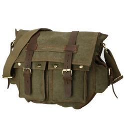 """Men's Military Canvas Leather Satchel School 14"""" Laptop Shou"""