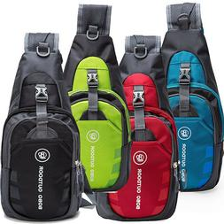 Men's Nylon Crossbody Shoulder Bags Chest Cycle Sling Pack D