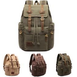Men's Vintage Canvas Backpack Travel Sport Rucksack Satchel