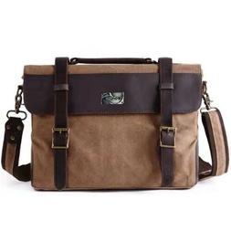 Men's Vintage Canvas Leather Satchel Laptop Business Shoulde