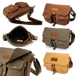 Men's Vintage Canvas Leather Shoulder Bag Messenger Travel S