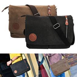 Men's Vintage Canvas Schoolbag Satchel Shoulder Messenger Ba