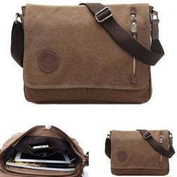 Men's Vintage Canvas Schoolbag Satchel Shoulder Messenger Ba