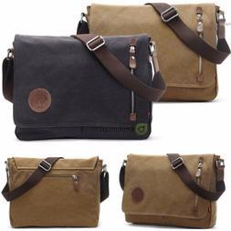 Men's Boy's Vintage Canvas Schoolbag Satchel Shoulder Messen