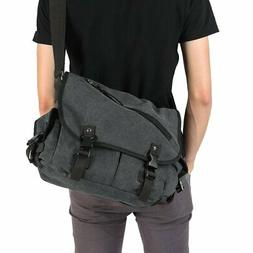 Men's Vintage Crossbody Satchel Canvas Bag School Shoulder B
