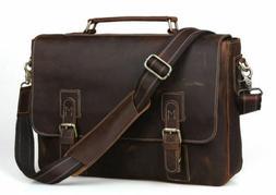 """Men's Vintage Real Leather Shoulder Messenger Bag 15"""" Laptop"""