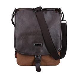 Douguyan Men's Vertical Messenger Bag Canvas Small Shoulder