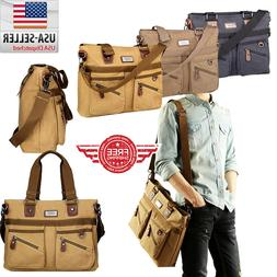 Men Vintage Canvas Cross Body Shoulder Messenger Bag Satchel