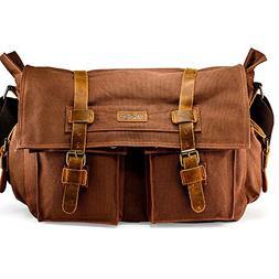 """GEARONIC 14"""" 15"""" 17"""" Men's Messenger Bag Laptop Satchel Vint"""