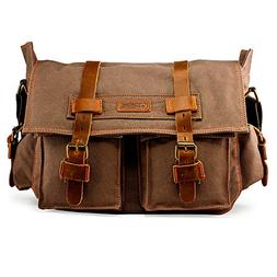 Men's Vintage Canvas Leather Satchel School Military Shoulde
