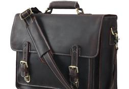 Polare Men's Full Grain Leather Laptop Briefcase Messenger B