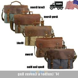 Men Vintage Leather Canvas 14'' Laptop Schoolbag Satchel Sho