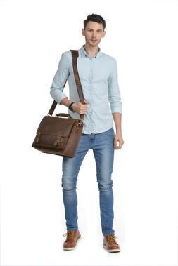 Kattee Men Vintage Leather Handbag Messenger Briefcase Shoul
