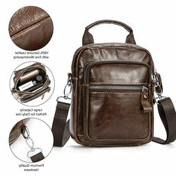 Men Vintage Leather Shoulder Messenger Bag with Belt Loop fo