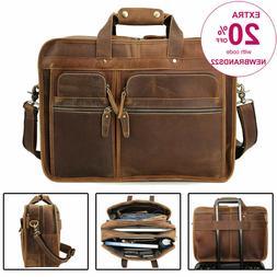 """Men Vintage Leather Travel Messenger Bag for 17"""" Laptop Brie"""