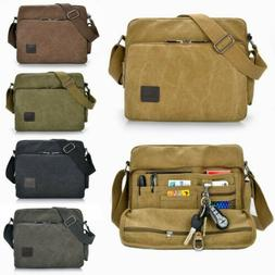 Men Vintage Military Canvas Crossbody Bag School Satchel Mes
