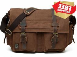 Berchirly Men Vintage Military Canvas Messenger Bag for 17.3