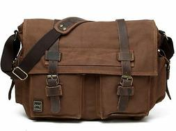 Berchirly Men Vintage Military Canvas Messenger Bag for 17.3