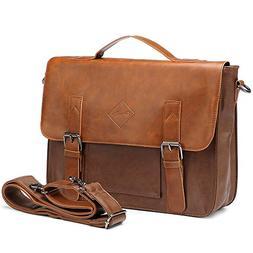 Men Vintage PU Leather Briefcase Laptop Shoulder Messenger B