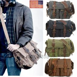 Men Vintage Style Canvas Leather Satchel School Military Sho