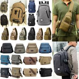 Men Women Canvas Vintage Backpack Messenger Bag Shoulder Sat