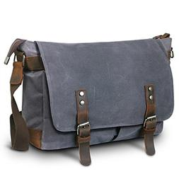 SUVOM Mens Canvas Laptop Messenger Bag Leather Shoulder Scho