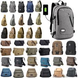Mens Canvas Shoulder Bag Messenger Bag Sport Travel Hiking S