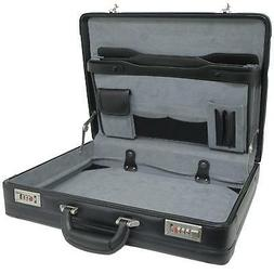 Mens Expandable Leather Attache Briefcase Dual Combination L