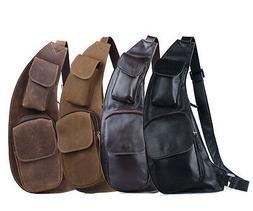 mens genuine leather chest bag sling backpack