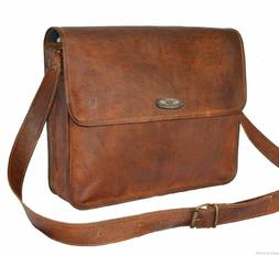 Mens Genuine Vintage Brown Leather Messenger Bag Shoulder La