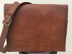 Mens Genuine Vintage Brown Leather Messenger Bag Shoulder La