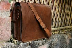 Mens Genuine Vintage Brown Soft Leather Messenger Bag Should