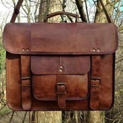 Mens Genuine Vintage Leather Satchel Messenger Man HandBag L