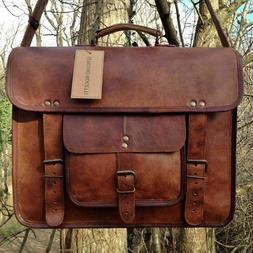 Mens Genuine Vintage Leather Satchel Messenger Man HandBag L