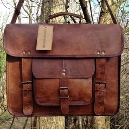 mens genuine vintage leather satchel messenger man