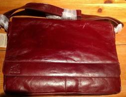 """Estalon Mens Messenger Bag, Burgundy Leather, 14"""" Laptop Off"""