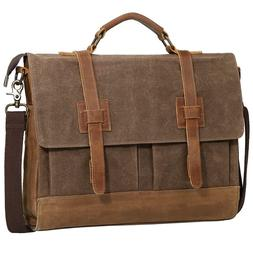 Mens Messenger Bag, Tocode 15.6 inch Vintage Canvas Leather